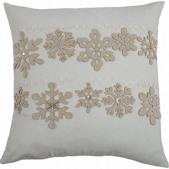 """Snowflakes Applique Pillow - 20""""Squarex4""""D, Ivory"""