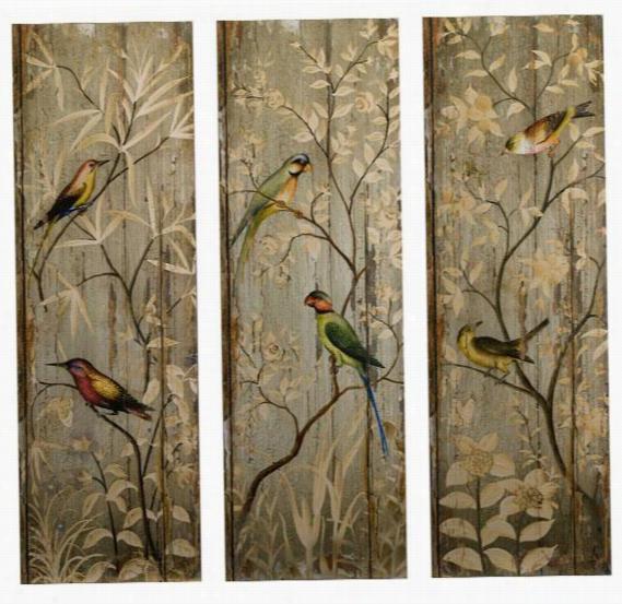 Calima Bird Wall Decor - Set Of 3 - Set Of Three, Green