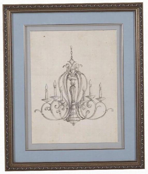 """Classical Chandelier Framed Wall Art - 25""""Hx21""""Wx1""""D, Classical Chand"""