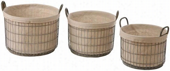 Tin Baskets With Fabric Liner - Set Of 3 - Set Of Three, Grey/Tan
