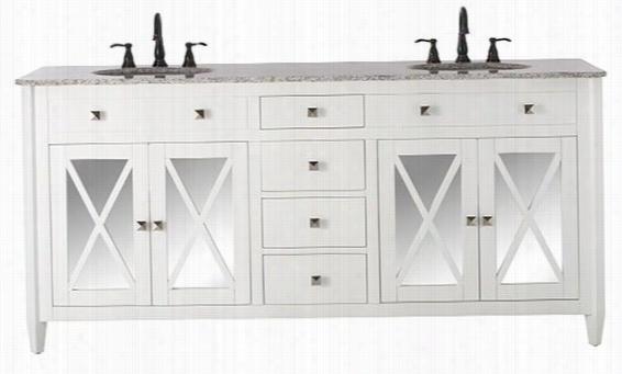 """Barcelona Double Bathroom Vanity - 35""""Hx73""""Wx22""""D, White"""
