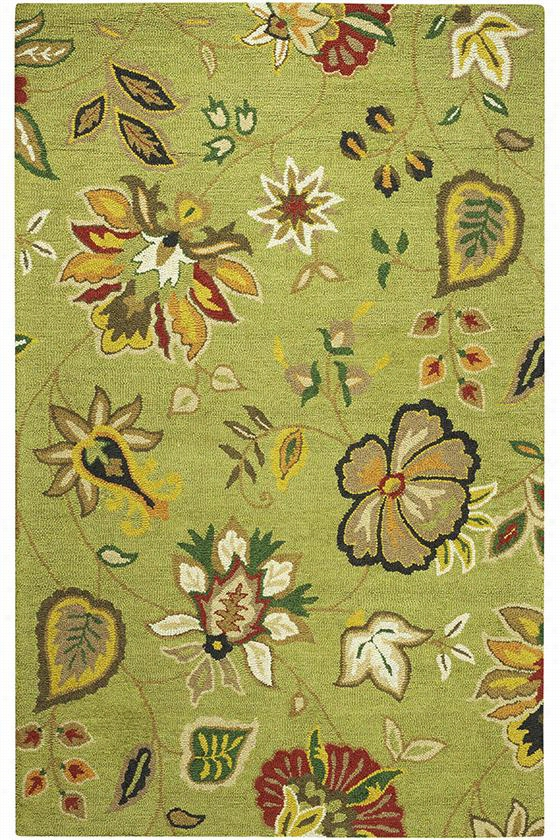 Chintz Area Rug - 9'X12', Green