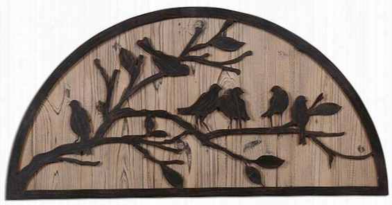 "Perching Birds Wall Plaque - 19""Hx39""Wx1.5""D, Bronze"