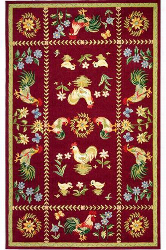 "Spring On The Farm Area Rug - 3'9""X5'9"", Burgundy"