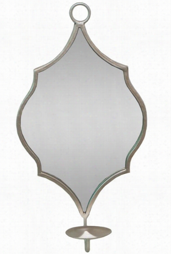 """Aria Mirror Candle Sconce - 16""""Hx4""""Wx8.5""""D, Brushed Champagne"""