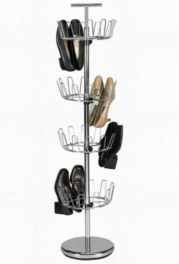 Chrome Revolving Shoe Tree - 4-Tier, Silver Chrome