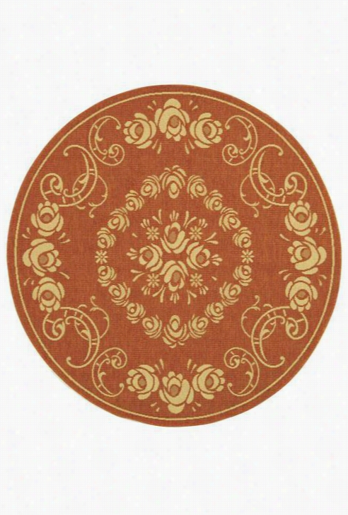 "Domain All-Weather Area Rug - 5'3""Round, Coral"