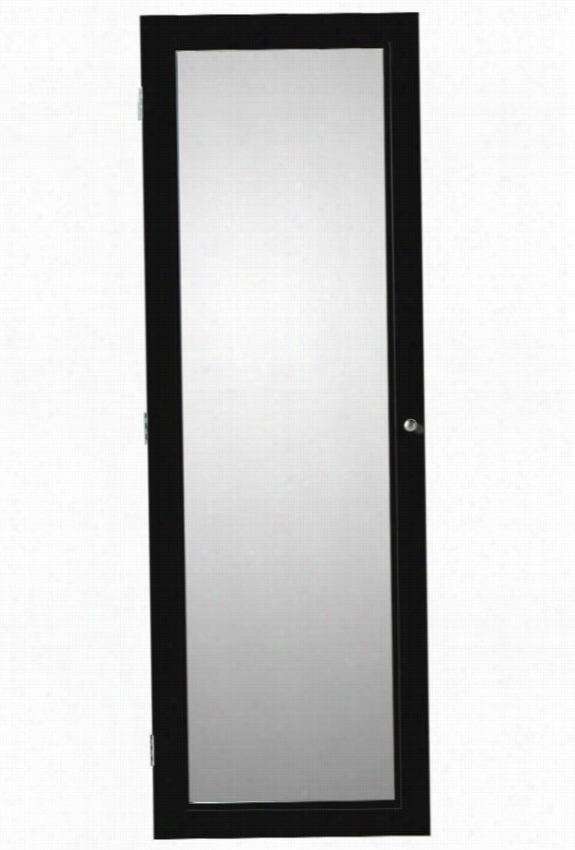 """Oxford Wall-Mount Jewelry Armoire With Mirror - 60Hx20wx4d"""", Black"""