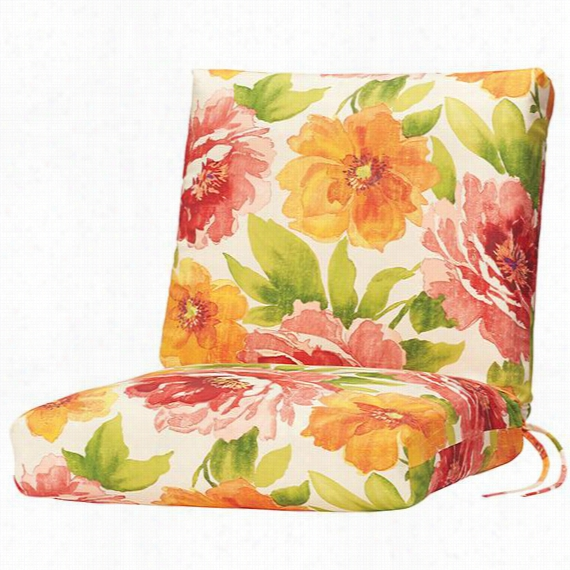 """Bullnose Seat/Back All-Weather Outdoor Patio Chair Cushion - 2""""Hx19""""Wx36""""D, Muree Primrose Polyester"""