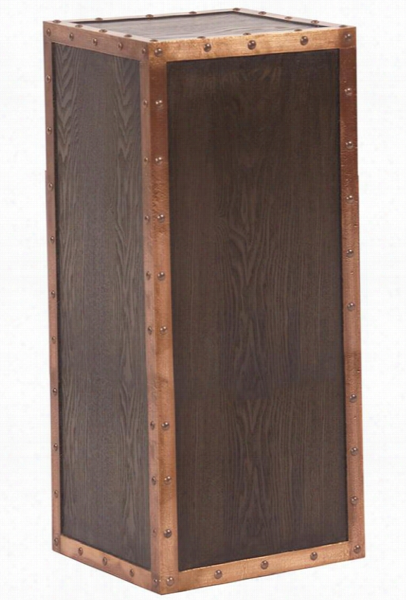 """Campbell Pedestal - 28""""Hx12""""Square, Brown Wood"""