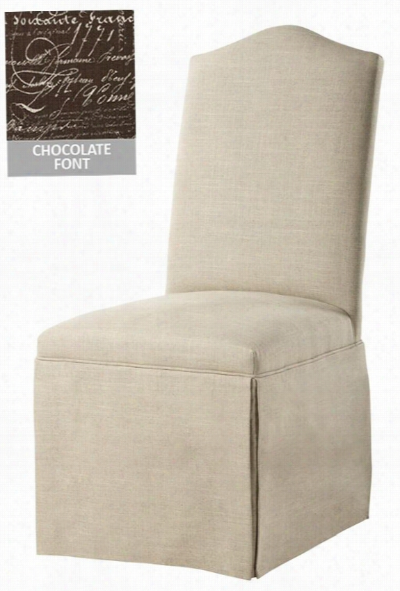 """Custom Camel-Back Parsons Chair With Skirt - 40.5""""Hx19.75""""Wx18""""D, Chocolate Font"""