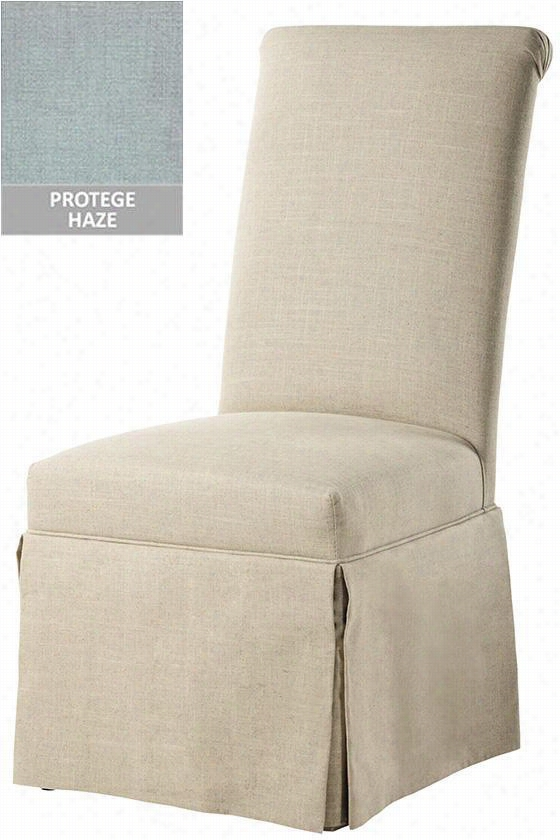 """Custom Rolled-Back Parsons Chair With Skirt - 41.5""""Hx19.5""""Wx18""""D, Protege Haze"""