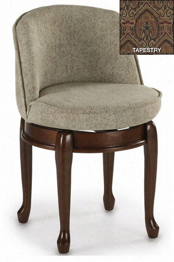 Delmar High Back Swivel Vanity Stool - High Back, Tapestry