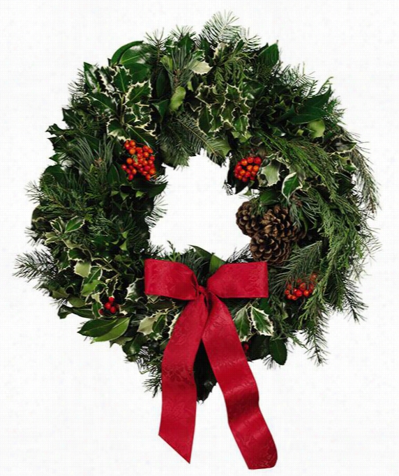 "Fresh Deluxe Holly And Greens Wreath - 24"" Diameter, Green"