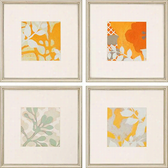 Ginger Blossoms Framed Wall Art - Set Of 4 - Set Of Four, Ginger Blossom Ii