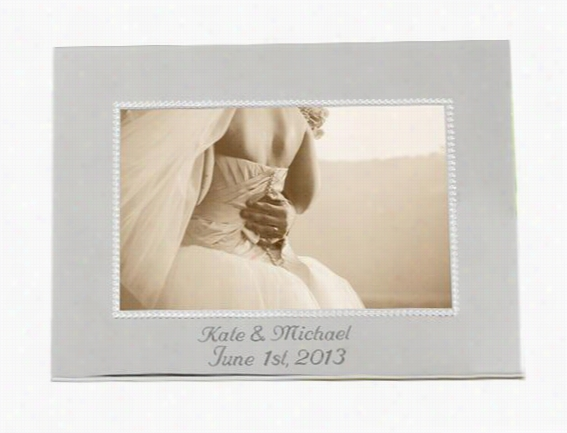 Personalized Beaded Silver Picture Frame - Landscape, Silver