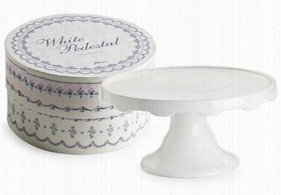 "Scalloped Pedestal - 7.5""Hx10.5""Diameter, White"