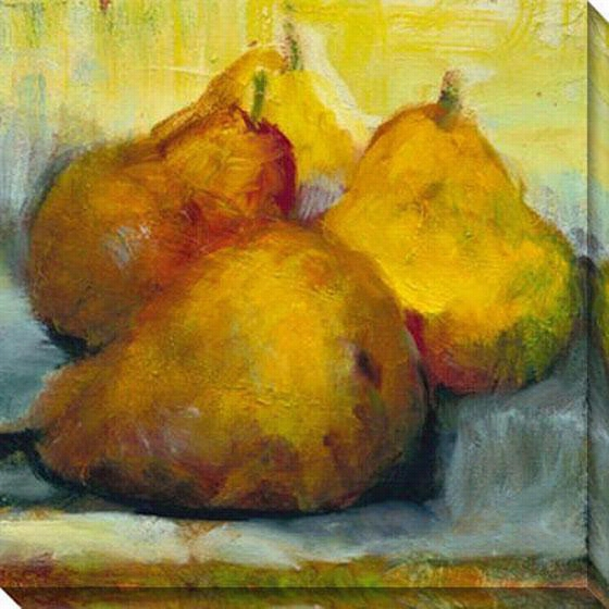 "Sun Bathing Pears Canvas Wall Art - 40""Hx40""W, Gold"