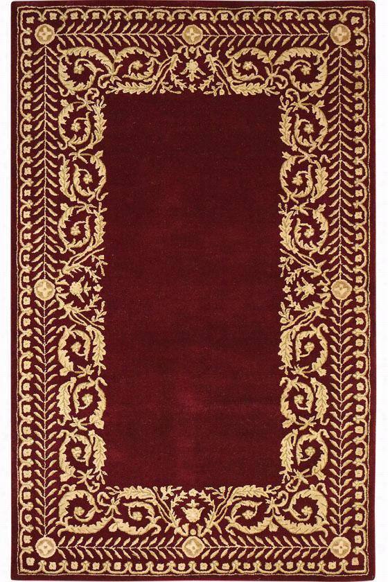 Napoli Wool Area Rug - 8' Round, Burgundy