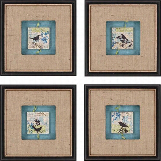 "Blackbird Tile - Set Of 4 - 14""Hx14""Wx2""D, Beige"