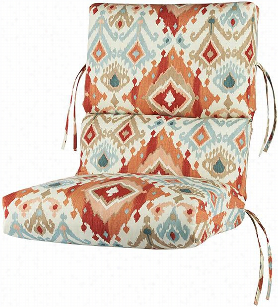 "Bullnose High-Back All-Weather Outdoor Patio Chair Cushion - 4""Hx22""Wx45""D, Alessandro Spiceberry Polyester"