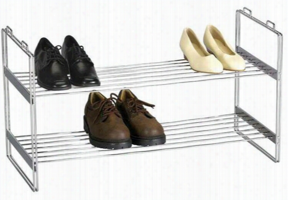 "Chrome Stackable Shoe Shelf - 16.5""Hx12""W, Silver Chrome"