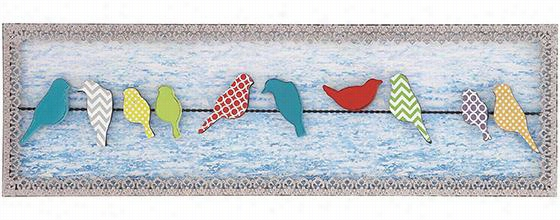 "Colorful Birds On A Metal Wire Wall Decor - 12""Hx40""Wx1""D, Multicolor"