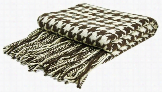 "Houndstooth Cashmere Blend Throw Blanket - 77""Hx50""W, Chocolate/Creme"