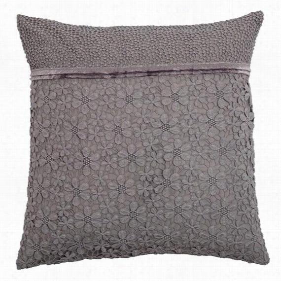 """Luci Lace 18"""" Pillow - 18""""Hx18""""Wx4""""D, Gray"""