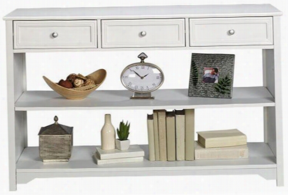 Oxford 47 Inch White Three-Drawer And Open Shelf Sofa Console Table
