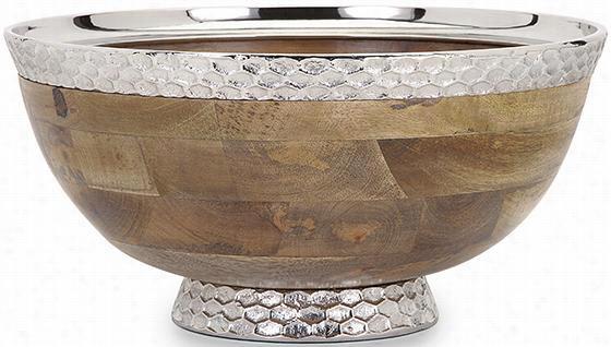 "Pedestal Bowl - 7.5""Hx16.5""Diameter, Ivory"