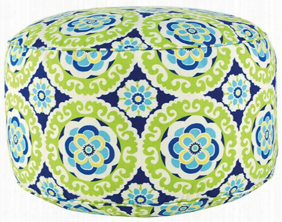"Round All-Weather Outdoor Patio Pouf - 15""Hx24"" Round, Halina Wasabi Polyester"