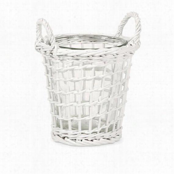 Tilton Wicker Candle Holder - Medium, White