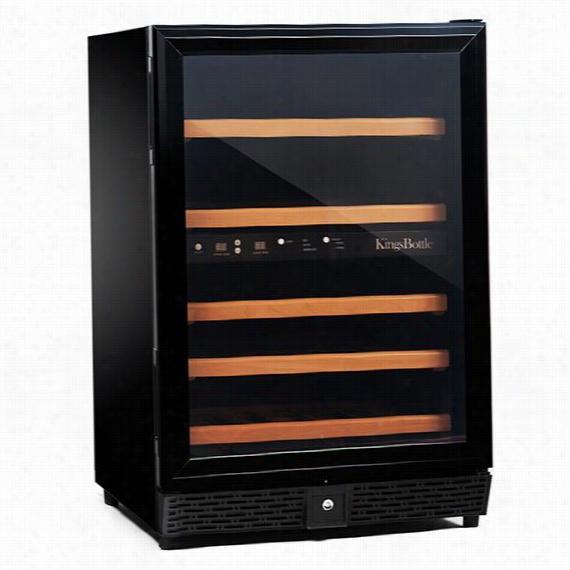 "50-Bottle Dual Zone Compressor Wine Cooler - 34""Hx23""Wx23""D, Black"