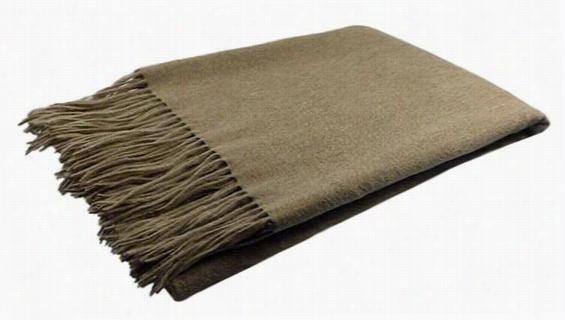 """Merino Wool Throw Blanket - 77""""Hx50""""W, Heather Beige"""