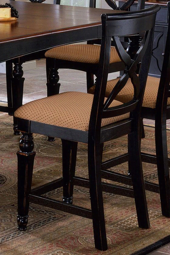 Northern Heights Counter Stools - Set Of 2 - Honey Fabric, Black