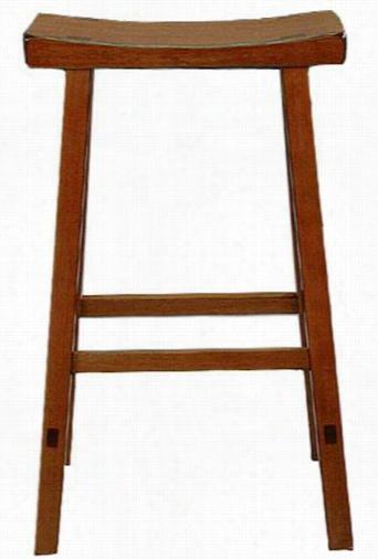 "Saddle Seat Counter Stool - 24.25""Hx17.75""W, Brown Wood"