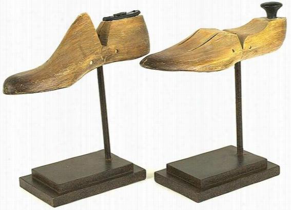 Shoe Form Decorative Stands - Set Of 2 - Set Of 2, Ivory