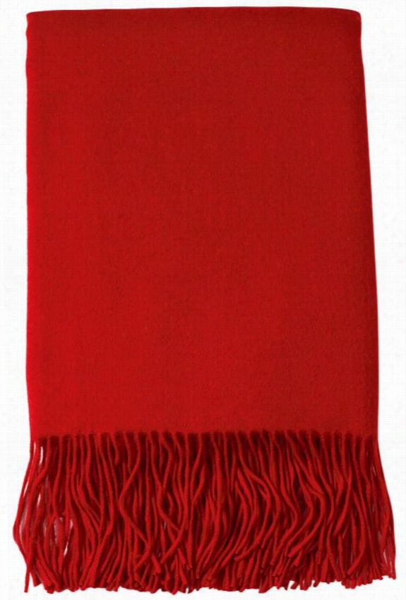 "Signature Cashmere Blend Throw Blanket - 77""Hx50""W, Red"