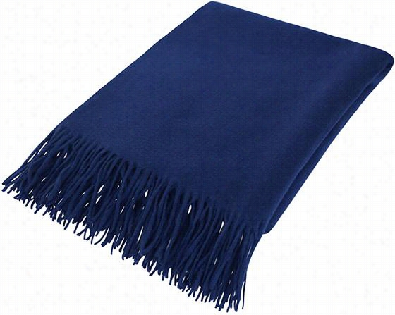 "Couture Cashmere Throw Blanket - 73""Hx50""W, Navy Blue"