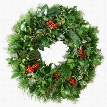 "Fresh Greens Life Magazine Wreath - 20"" Diameter, Green"