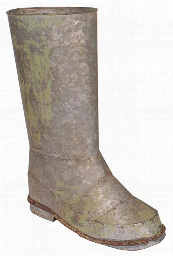 Iron Boot Planter - 11.5X4.5, Silver