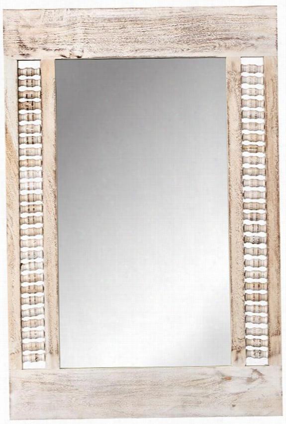 "Maharaja Mirror - 24""Hx36""Wx2""D, Sandblast White"