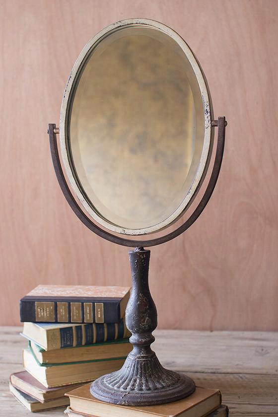 """Marbella Makeup Mirror - 24""""Hx12""""Wx7""""D, Antique Metal"""