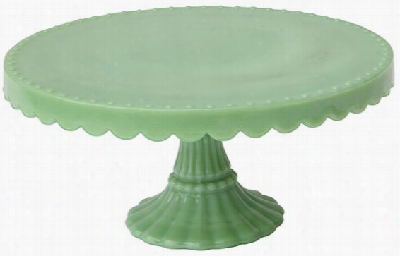 "Round Milk Glass Pedestal - 3.5""Hx8""Diameter, Green"