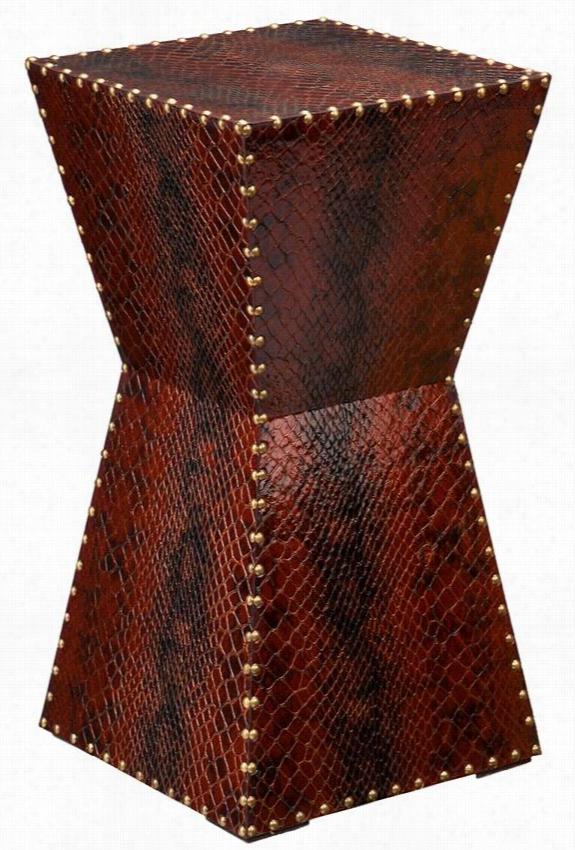 """Waylon Faux-Leather Pedestal - 26""""Hx14""""Wx14""""D, Brown"""