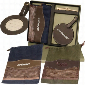 Woodbury Golf Pouch round Golf Tag Set