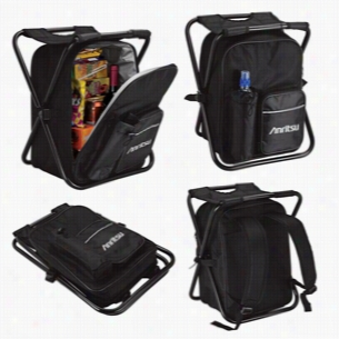 Black Polyester Zippered Cooler Bag Chair