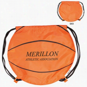 "Polyester Gametime! Basketball Drawstring Backpack 17"" X 14.5"