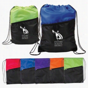 "Polyester Multi Color 2-Tone Drawstring Backpack With Zipper 13""X 16.75"